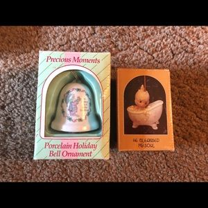 Precious Moments ornaments- bell & baby in tub
